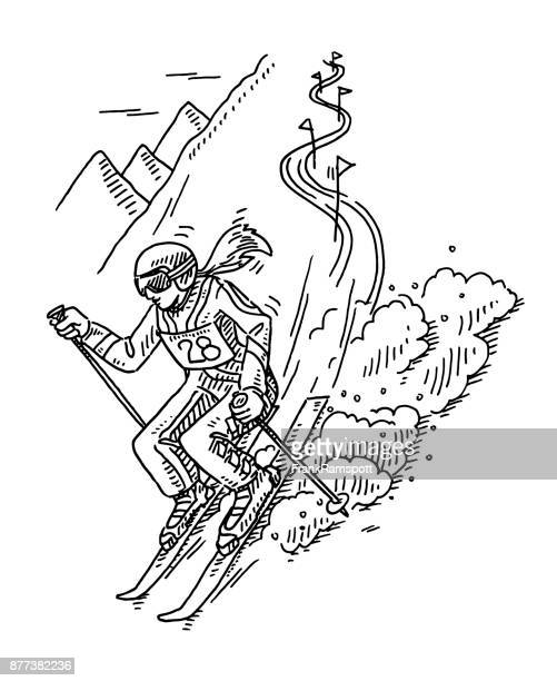 winter sport slalom skiing drawing - motorcycle helmet isolated stock illustrations, clip art, cartoons, & icons