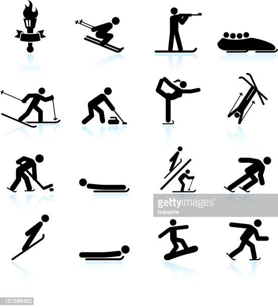 Winter sports black & white royalty free vector icon set