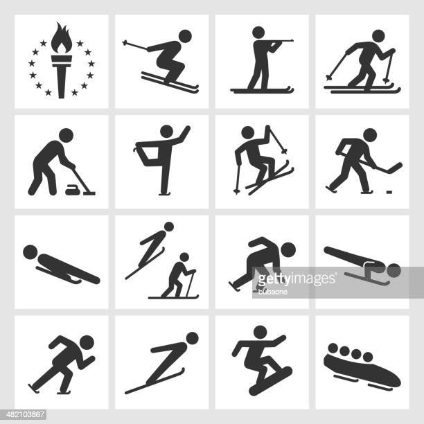 Winter sports black & white royalty free vector icon set