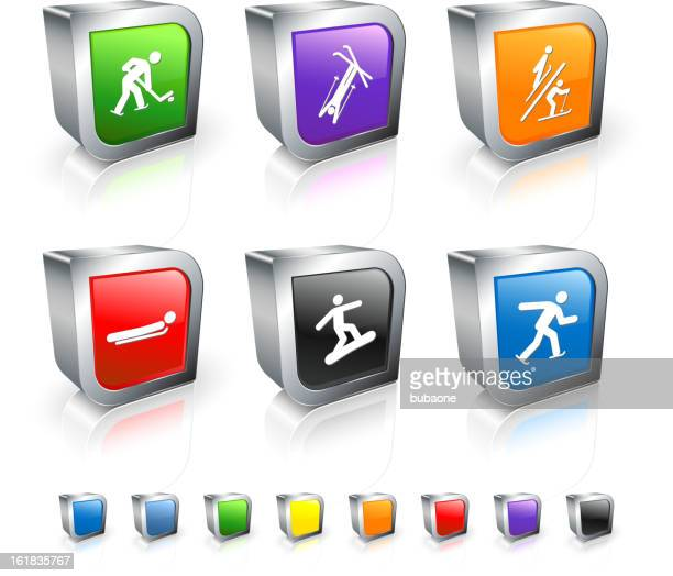 winter sports competition 3d vector icon set with metal rim - winter sports event stock illustrations