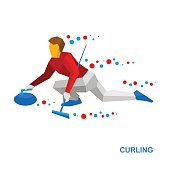 Winter sports - curling. Cartoon player slide stone.