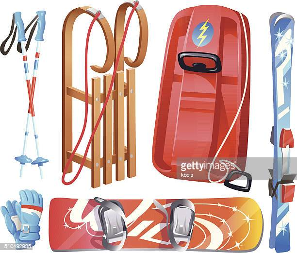 winter sports equipment - tobogganing stock illustrations, clip art, cartoons, & icons