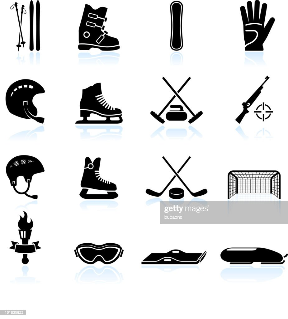 Winter sports gear black and white vector icon set