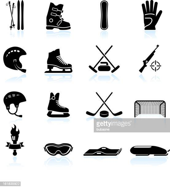 winter sports gear black and white vector icon set - ice skate stock illustrations, clip art, cartoons, & icons