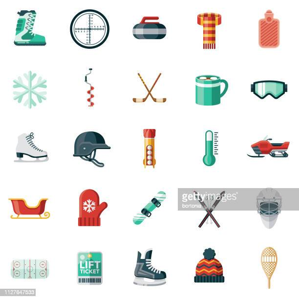 wintersport-icon-set - flach stock-grafiken, -clipart, -cartoons und -symbole