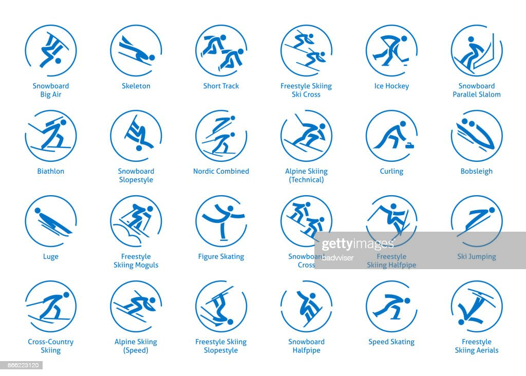 Winter sports icons set