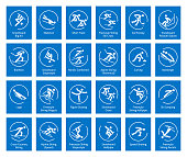 Winter sports icons set, vector pictograms