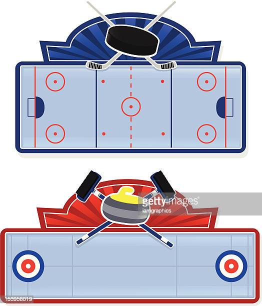 winter sports signs - curling sport stock illustrations