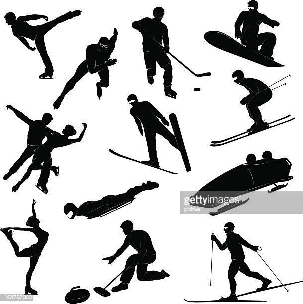 illustrations, cliparts, dessins animés et icônes de silhouettes de sports d'hiver - ski alpin