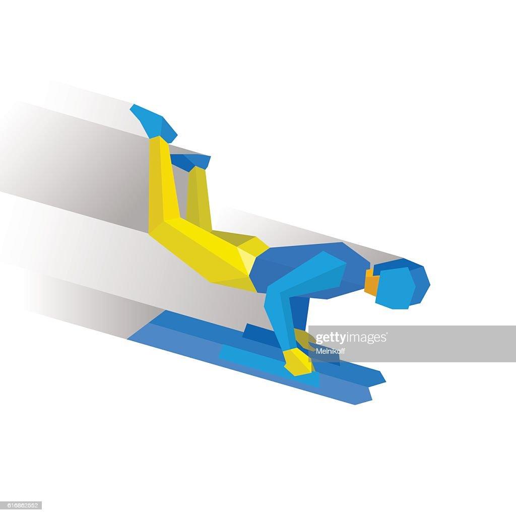 Winter sports - skeleton. Cartoon sportsman jump on sled (bobsle : Vector Art