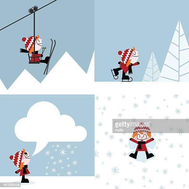 winter sports skiing skating snow mountain kid illustration vector