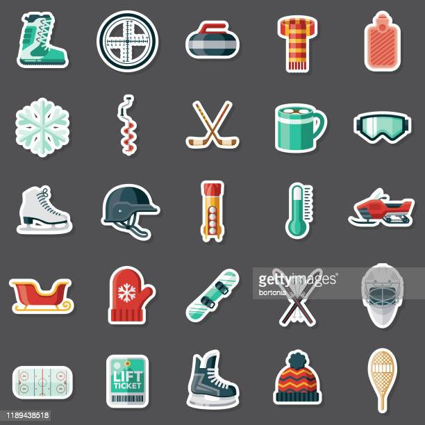 winter sports sticker set - winter sport stock illustrations