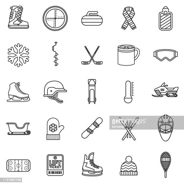 winter sports thin line icon - face guard sport stock illustrations