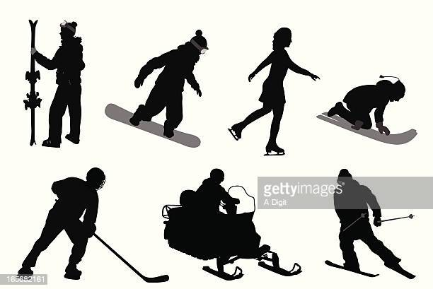 winter sports vector silhouette - tobogganing stock illustrations, clip art, cartoons, & icons