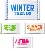 Winter, spring, summer and autumn (fall) trends labels