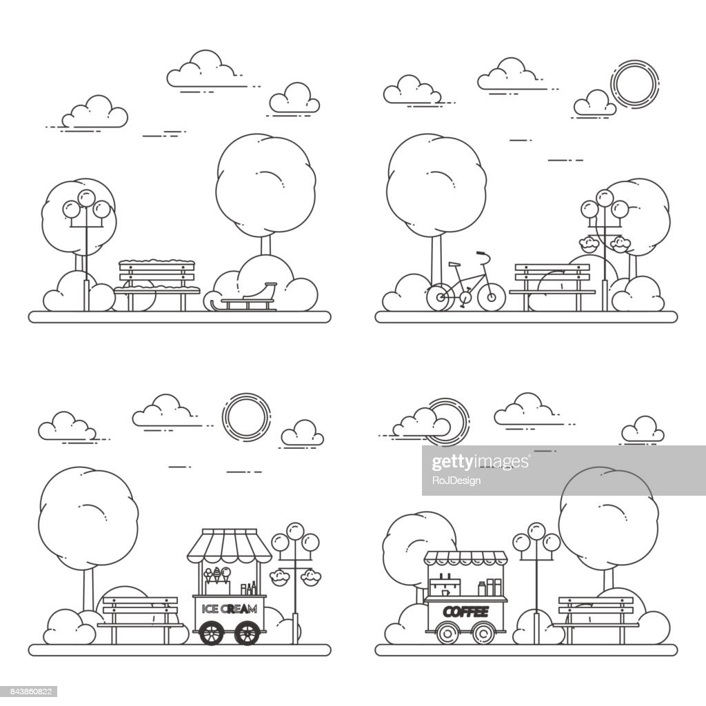 Winter, spring, summer, autumn city landscapes with central park. Vector illustration. Line art. Four seasons set.