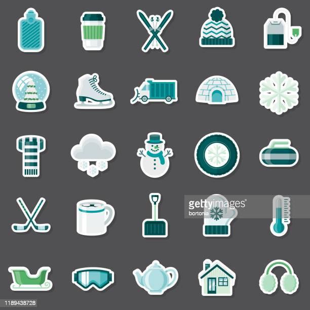 winter sticker set - winterdienst stock illustrations