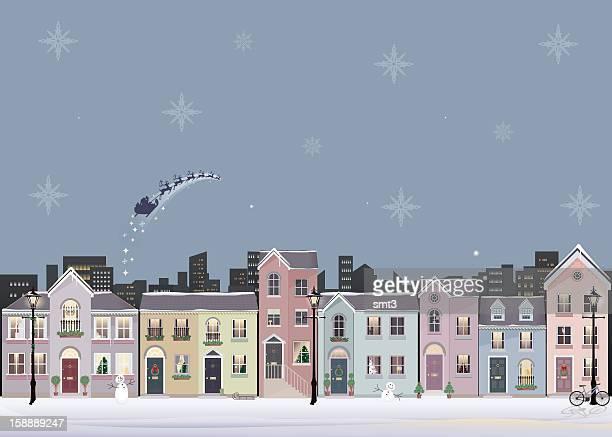 冬のストリートシーン - サンタ ソリ点のイラスト素材/クリップアート素材/マンガ素材/アイコン素材