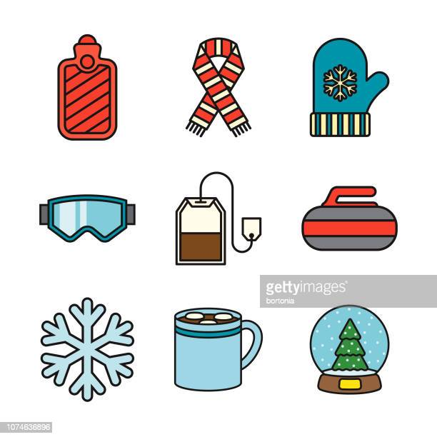 winter thin line icon set - ski goggles stock illustrations, clip art, cartoons, & icons