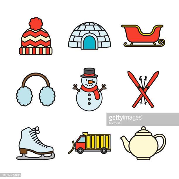 illustrations, cliparts, dessins animés et icônes de fine ligne hiver icon set - igloo