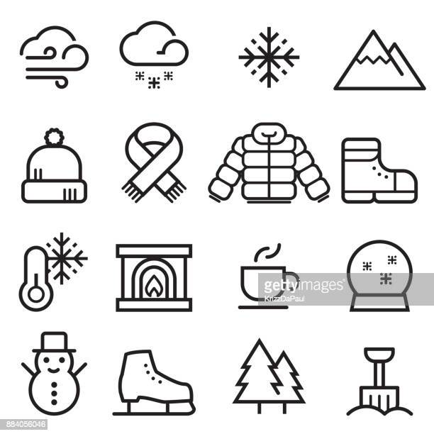 winter thin line icons - warm clothing stock illustrations