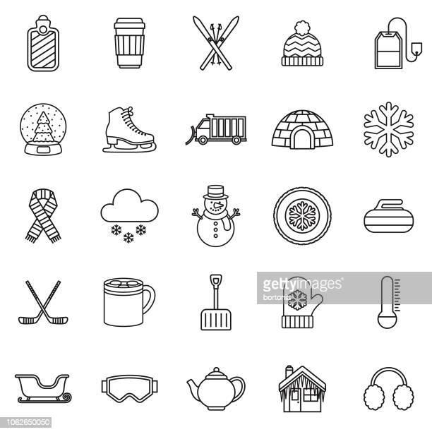 illustrations, cliparts, dessins animés et icônes de hiver fine ligne contour icon set - igloo