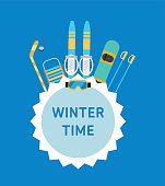 Winter time. Concept banner template.