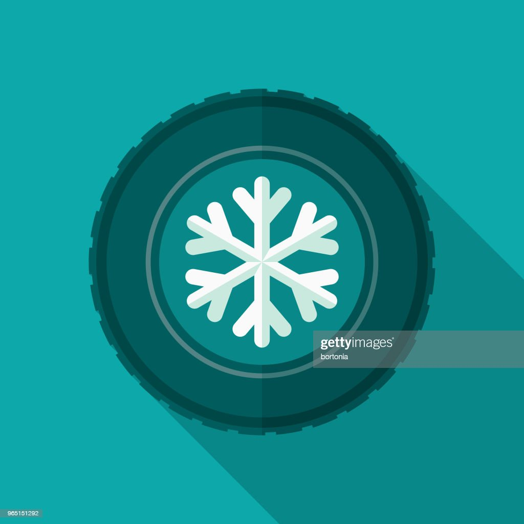 Winter Tires Flat Design Icon with Side Shadow