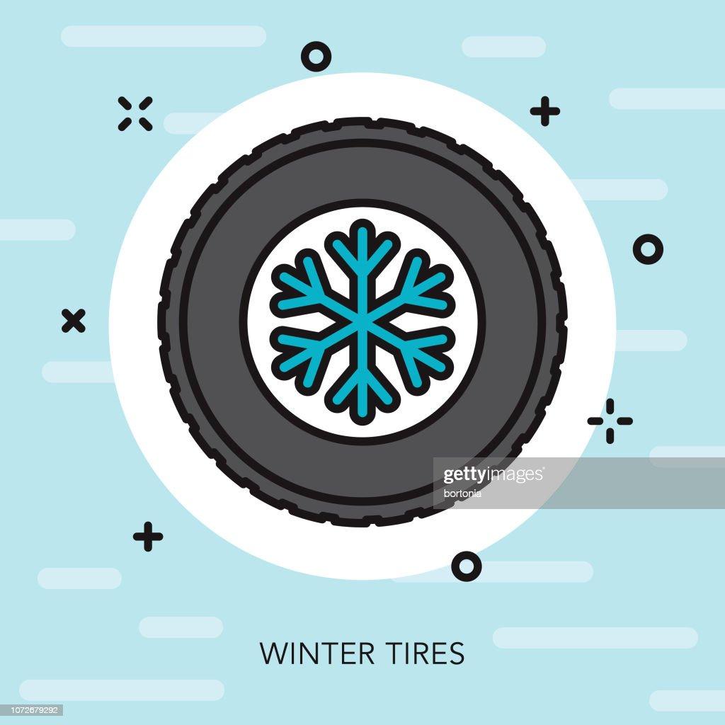 Winter Tires Thin Line Winter Icon