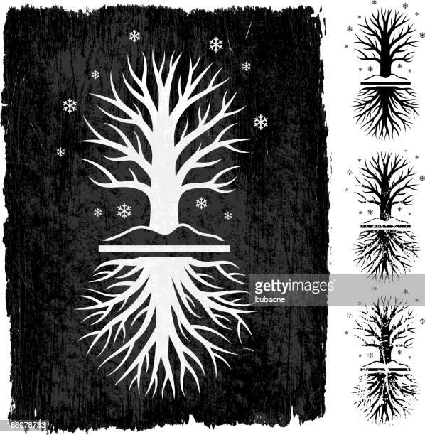 winter tree grunge royalty free vector icon set - winter solstice stock illustrations