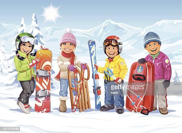 illustrations, cliparts, dessins animés et icônes de vacances d'hiver - ski alpin