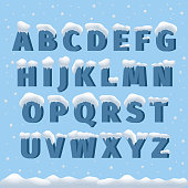 Winter vector alphabet with snow