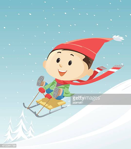 winter - tobogganing stock illustrations, clip art, cartoons, & icons