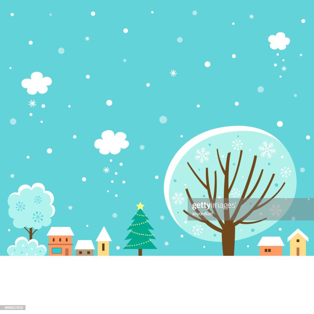 Winter village landscape with winter tree
