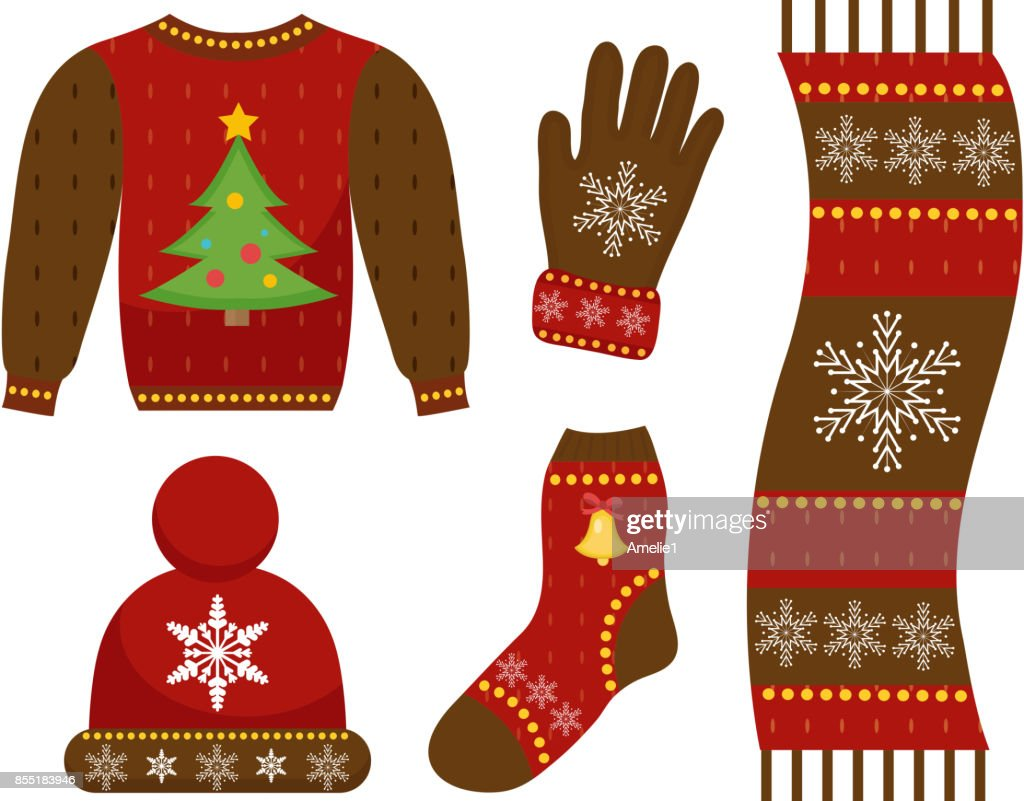 Winter warm clothes icon set, flat style. Christmas clothing,apparel collection with patterns. Hat, scarf, gloves, sweater. Isolated on white background. Vector illustration.