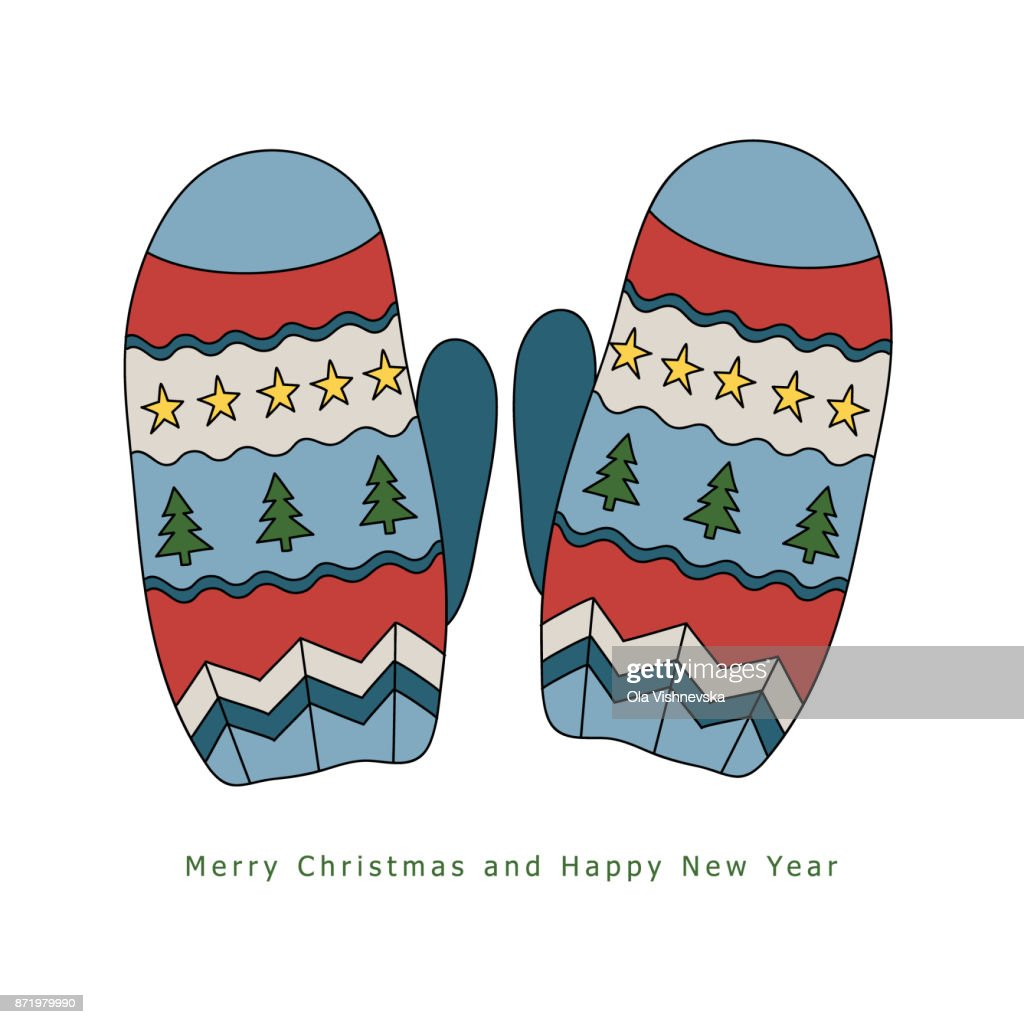 Winter warm mittens with a pattern of stars and Christmas trees. Hand drawn vector illustration on a white background.