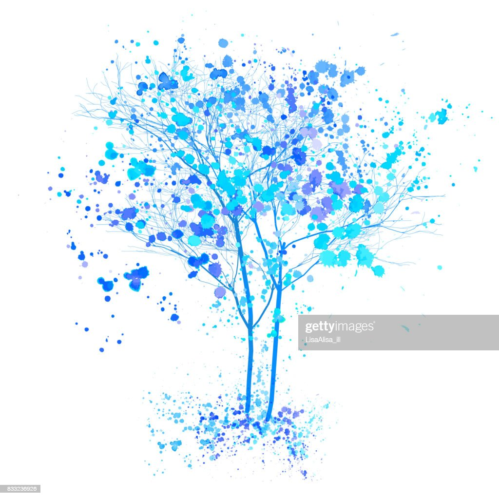 Winter watercolor tree. Blue trees with splashes and ink sketched illustration. Winter tree concept