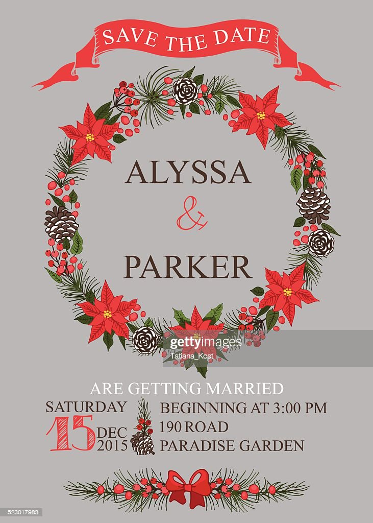 Christmas Save The Date Graphics.Winter Wedding Save Date Card Christmas Wreath Stock Vector