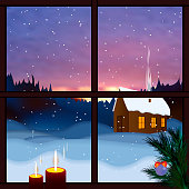 Winter window. Snowy landscape, view from the window. Falling snow, winter dawn, snow forest. Merry Christmas and happy new year greeting postcard. Christmas background with window, mountain, trees