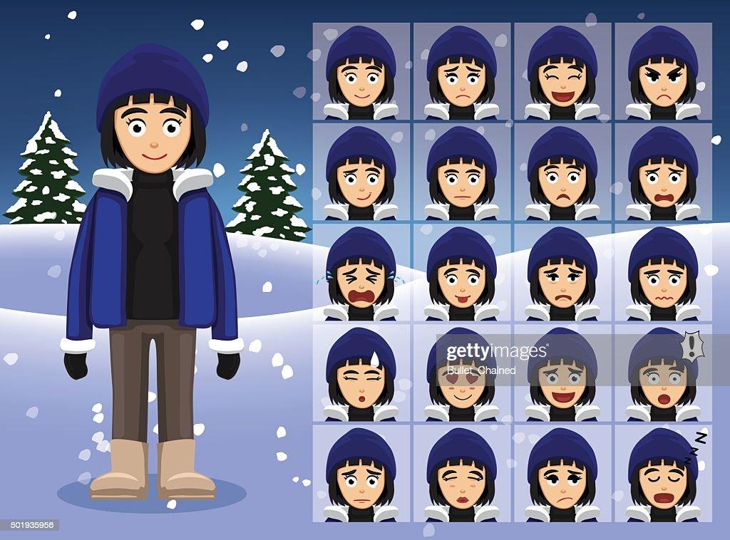 Winter Woman Cartoon Emotion faces Vector Illustration