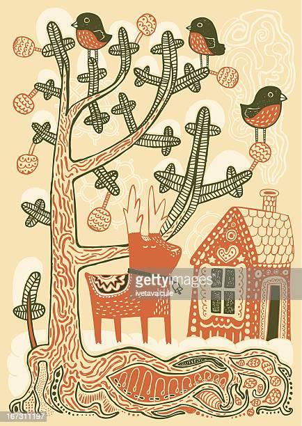 winter wonderland - gingerbread house stock illustrations, clip art, cartoons, & icons