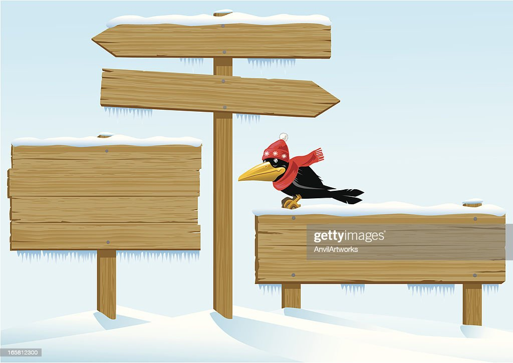 Winter Wooden Signs with a Crow : stock illustration