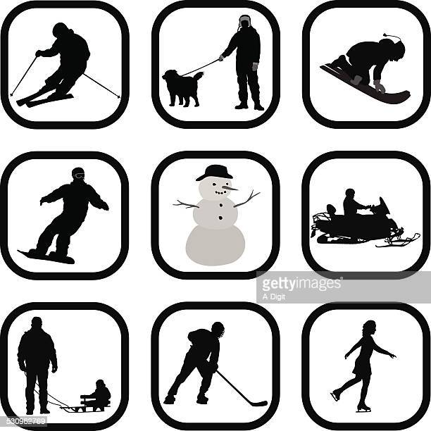 wintering - tobogganing stock illustrations, clip art, cartoons, & icons