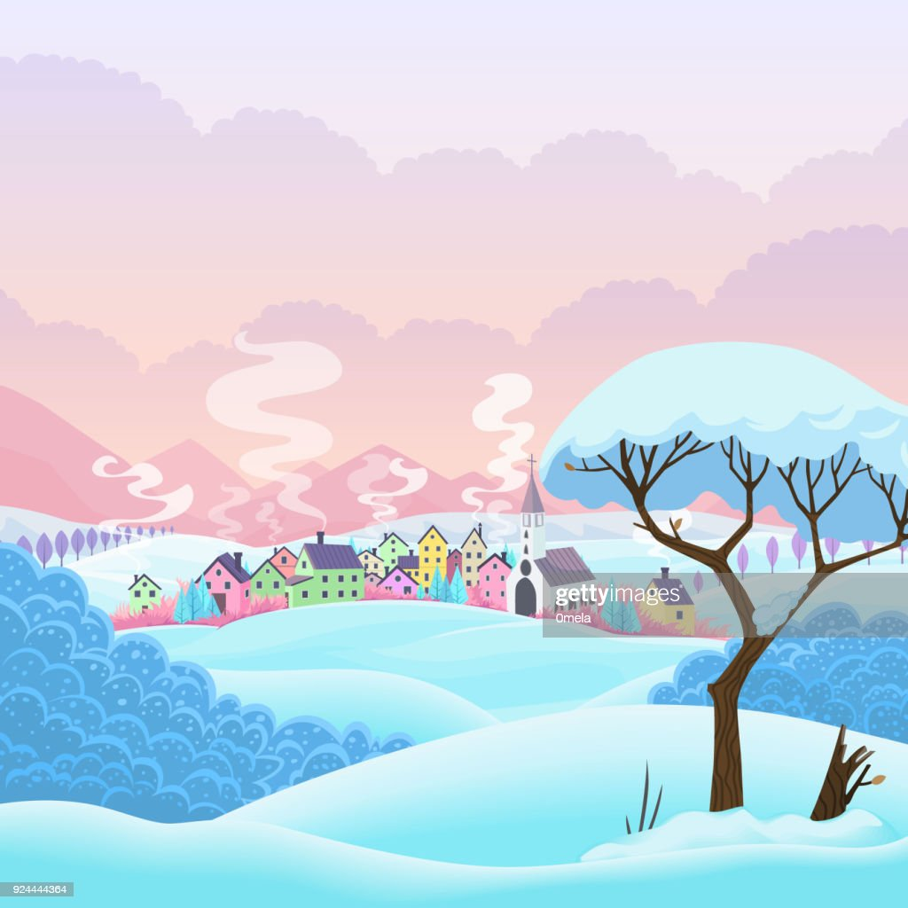Wintervector scene with village and tree