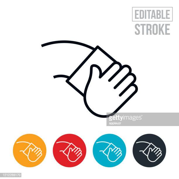 ilustrações de stock, clip art, desenhos animados e ícones de wiping thin line icon - editable stroke - gari