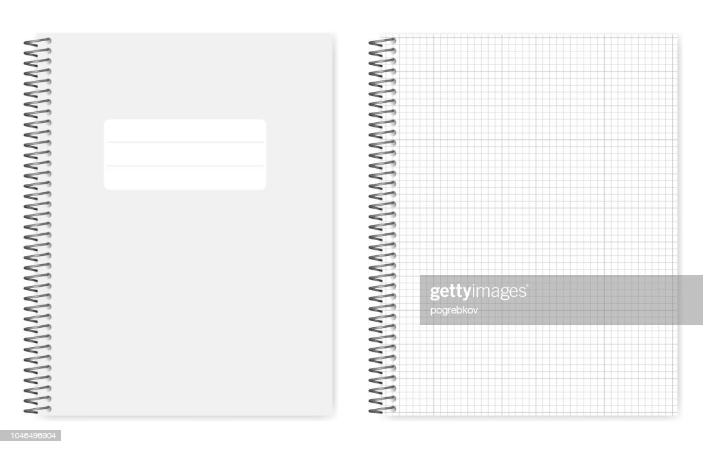 Wire bound grid lined letter format copybook, template