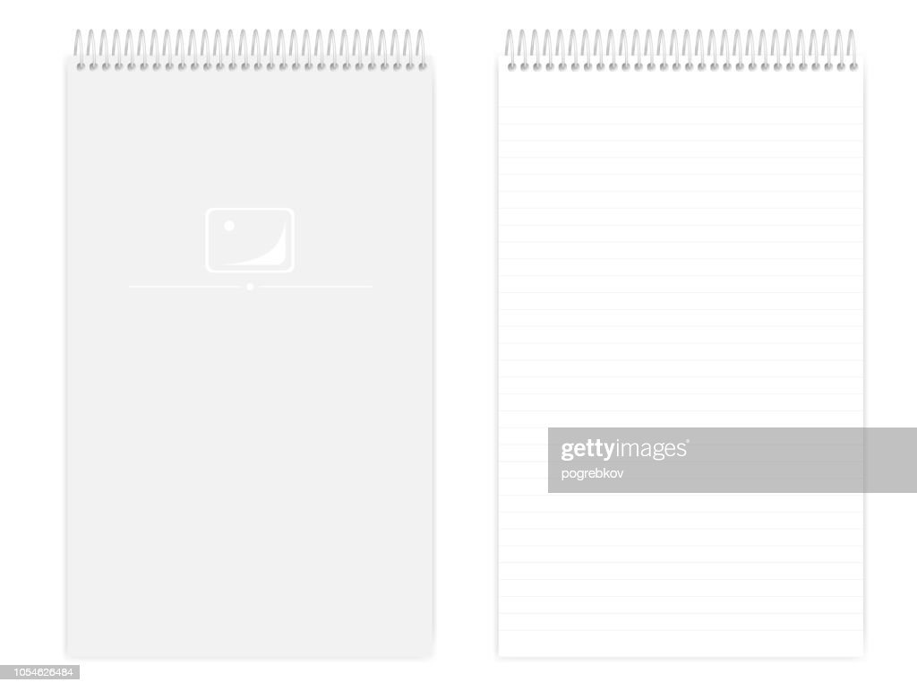 Wire bound legal size lined note book, realistic vector mockup