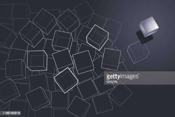 wire cubes - royal blue stock illustrations