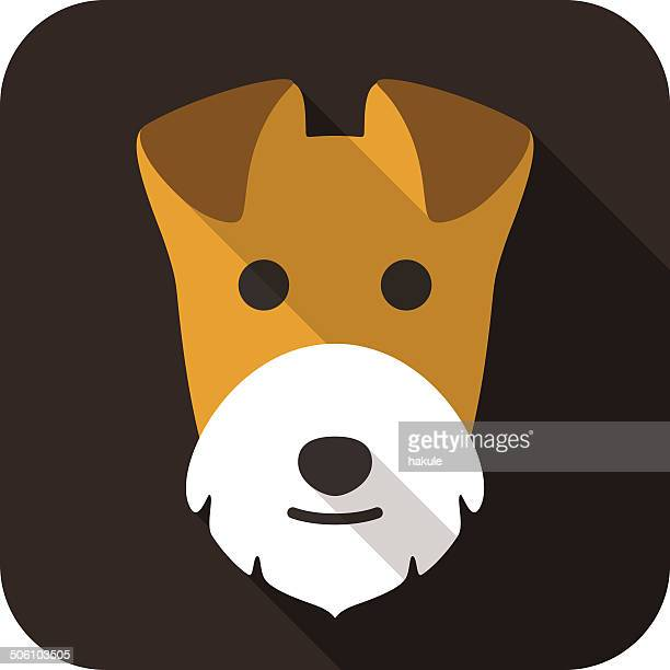 Wire Fox Terrier dog face flat icon