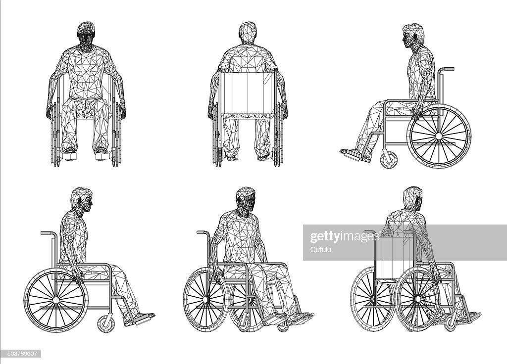 Drahtmodell Rollstuhl Mann Vektorgrafik | Getty Images